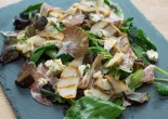 Grilled pear, coppa and stilton salad with ginger vinaigrette
